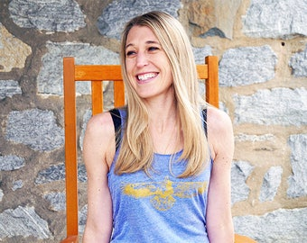 Women's Eco-Jersey GOLDEN EAGLE Yoga Tank Top, xs s md lg xl (++ colors)
