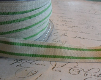 French Style Organic Cotton Natural and Spring Green Stripe Ribbon 5/8 inch wide