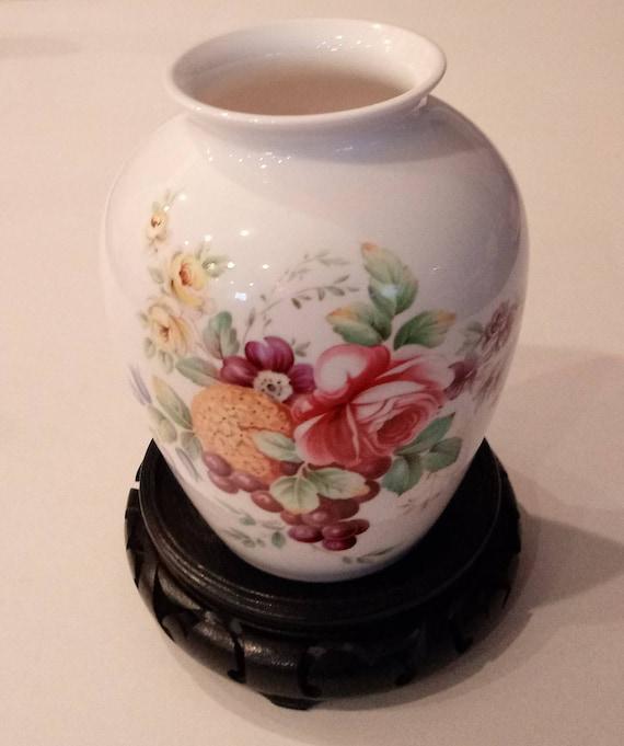 Vintage Hand Painted Spode Vase Signed Bone China Vase