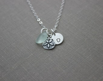 Sterling Silver Sand Dollar charm necklace with genuine  Sea Glass and Initial Charm,  Made to Order, Wedding Bridesmaid Gift, Personalized