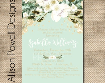 Winter Engagement Party, Bridal Shower, Wedding, Shower  Invitation - Print your own - Christmas Wedding