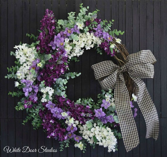 Spring Summer Purple and White Lilac Front Door Wreath - Ready to Ship