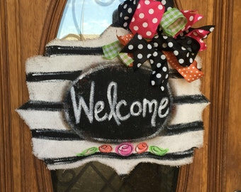 Floral black and white burlap door hanger