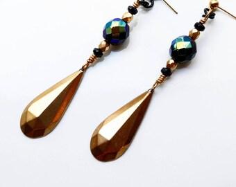Large Dangle Earrings - gold tone teardrop earrings, iridescent mermaid earrings, colorful statement earrings, handmade brass earrings
