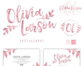 Photography Logo Branding Kit, Logo Set, Logo Kit, Branding Package, Photography Branding, Initials Vintage Logo, Rose Gold Logo, Leaf Logo