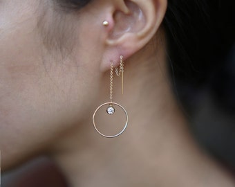 Halo Ear Thread Earrings with CZ Diamond // Round Circle Hoop Ear Thread //, Large gold statement Threader hoops // Perfect Gift for Her