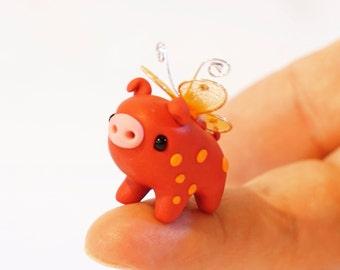 Flying Pig - Polymer Clay Miniature Fairy Pig