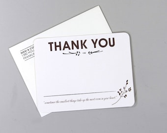 Rustic Wedding Thank You Notecard with A2 Envelope