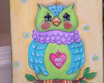 "SOLD... no longer available...Owl painting ""Cutie Hootie""  original mixed media owl painting"