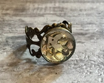 Steampunk Ring, Cogs and Gears Ring, Steampunk Jewelry, Glass Dome, Bronze Adjustable Filigree Band, Industrial, Neo-Victorian Time Traveler