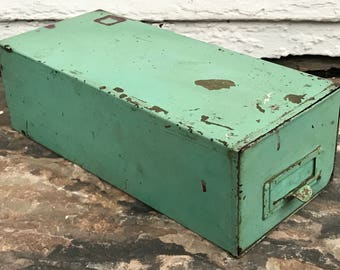 file card drawer ~ distressed industrial green metal card file drawer ~ card cabinet ~ card catalog drawer ~ industrial green drawer storage