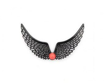 2 breastplate necklaces black wings connectors