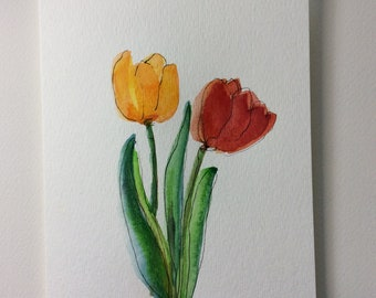 Two Tulips Watercolor Card / Hand Painted Watercolor Card