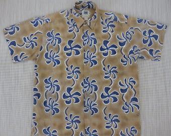Mens Hawaiian Shirt KAHALA AVi Collection Mod Hip Hibiscus Print Beach Boy Vintage Polynesian 100% Cotton Camp -L- Oahu Lew's Shirt Shack