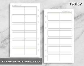 Personal Size Printable Address List Contacts Digital Download PR052
