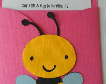 Bug, Garden party theme pocket invitation.  Pick your colors, pick your bugs or theme
