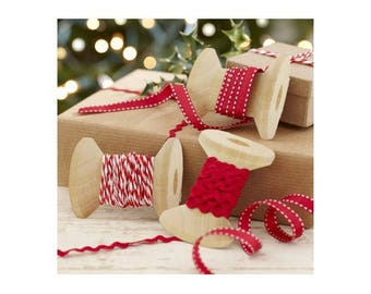 Set of 3 ribbons, red and White Christmas