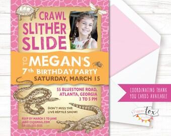 Reptile Birthday Invitation, Reptile Party, Reptile Invitation, Reptile Birthday, Reptile Birthday Party, Invitations for Girls, Printable