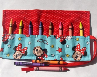Crayon Roll Up Crayon Holder Minnie Mouse On Teal - Holds 8 Crayons