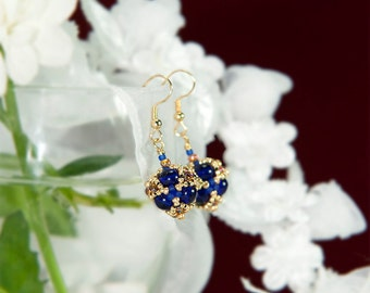 Cobalt Gold Topaz Beaded bead earrings | Gold plated ear wire | Beadwoven earrings | Gift for girlfriend, wife, sister, mother