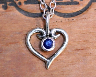 Blue sapphire necklace, valentine gift birthstone heart necklace sterling silver, September birthstone necklace, gift for her, ready to ship