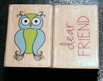 New Owl Friend Rubber Stamp Set Wood Mounted Dear Wise Old Owl Bird Smart Education Owls Whoo Woot Woodland Forest Creature Words Writing