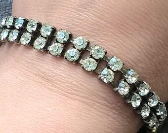 Antique 1930's Art Deco Silver Color Metal Two Line Diamante Paste Bracelet