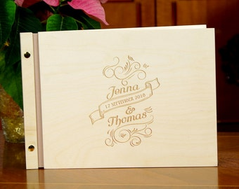Unique Wedding Guest Book Wooden Engraved Personalized Custom Wedding Guestbook Rustic Wedding Present