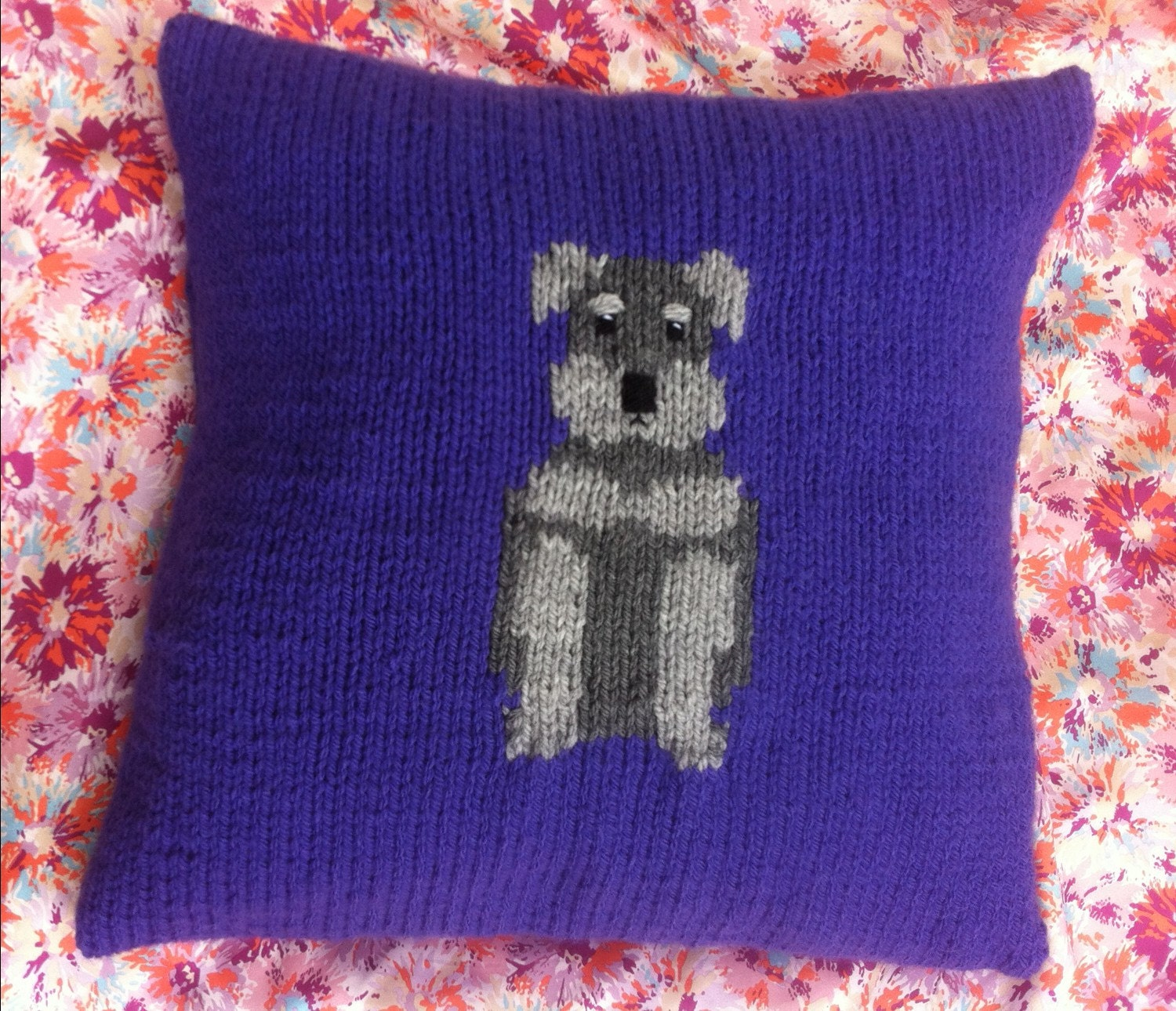 Schnauzer dog cushion cover, chunky knitting pattern. from ...