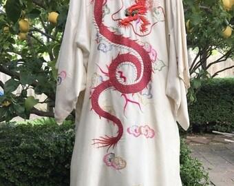 Goodbye Rain Sale Vintage Silk Ivory Kimono Robe~Hand Embroidered~Red Dragon~Clouds