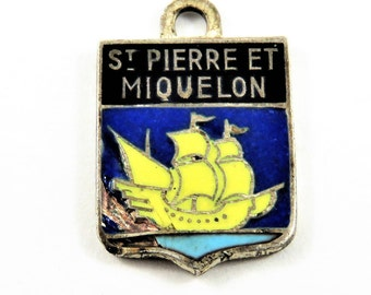 Enameled Travel Shield of St Pierre ET Miquelon with Tall Ship in Center Sterling Silver Pendant or Charm.
