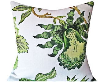 Schumacher Hothouse Flowers Verdance Decorative Pillow Cover - Celerie Kemble - Throw Pillow - Accent Pillow - Solid Linen Back