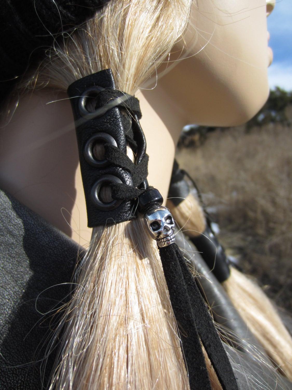 Black Leather Hair Wrap Skull Beaded Tie Ponytail Holder Biker
