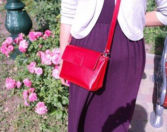 Leather Crossbody Bag, Red Bag, Leather purse, Everyday Purse, Shoulder Women Purse, Shoulder Bag, Women Crossbody, bag evening