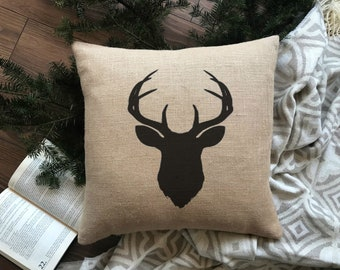 Stag Pillow Cover | Stag Burlap Pillow | Burlap Pillow Cover| Zipper enclosure Pillow Cover | Rustic home decor. Cottage Pillow Cover