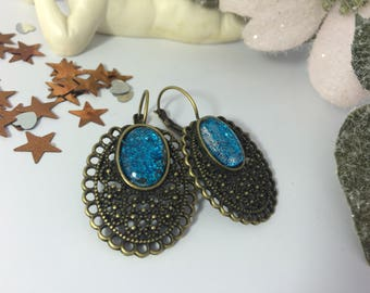 Earrings ' lagoon blue glitter cabochons
