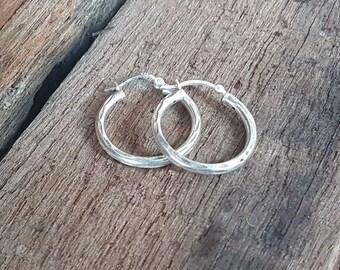Vintage Silver Hoop Earrings , Sterling Silver , Medium Size , Diamond Cut Pattern , Ladies Hoops , Gifts For Her