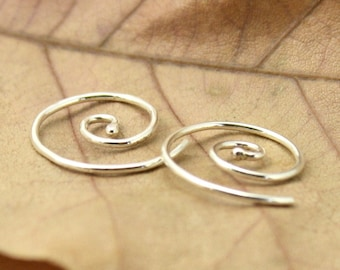 Tiny Spiral Earrings in Sterling Silver