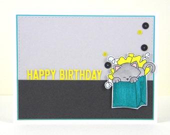 Cat Birthday Card, Cat Happy Birthday Card