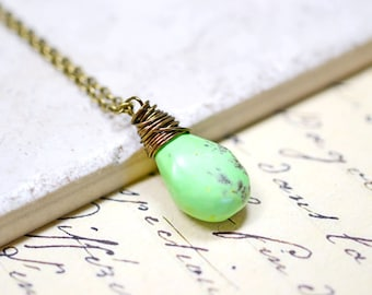 Lime Green Turquoise Necklace, Mint Chocolate Chip, Wire Wrapped Green Turquoise, Lime Green Briolette, Wire Wrap Jewelry, Rustic Necklace