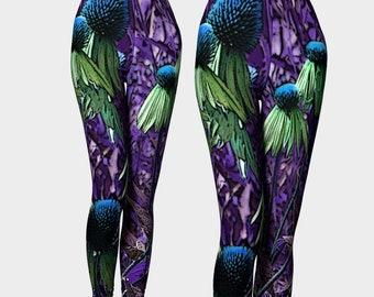 Purple Purpurea Yoga Capris XS-S-M-L-XL Flower Floral Echinacea Plant Wearable Art Clothes Women Teen Girl Pants Clothing Fashion Bottoms