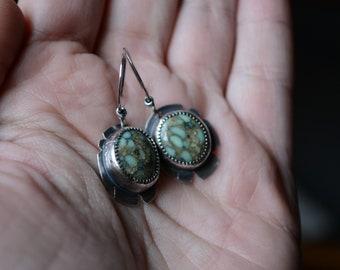 Poseidon Variscite Earrings in Sterling Silver