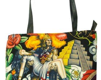 """USA Handmade Handbag With """"CONTIGO"""" Pattern Bag Purse, Cotton, New"""