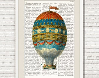 HOT AIR BALLOON Dictionary Print, Antique Balloon print, wall art, Montgolfier, Air Balloon Dictionary Art Print, Balloon Decoration #153-10