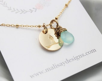 beach wedding bridesmaid necklace, lighthouse gold charm necklace, mint chalcedony, vacation jewelry, honeymoon wedding gift, travel jewelry