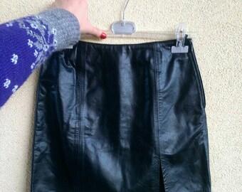 Vintage black mini skirt // 90s // genuine leather // UK 8 // IT Small