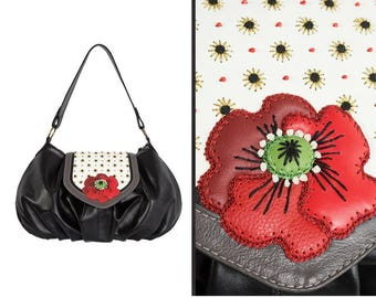 Red poppy bag, black shoulder purse, boho leather handbag, flower small bag, birthday gift mom, women floral bag, festival accessories party