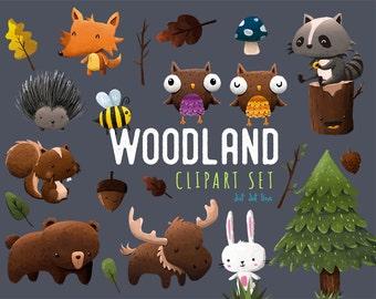 Woodland Animals Digital Clipart Set- INSTANT DOWNLOAD, woods clipart, forest animals clipart, trees clipart, bear, bunny, raccoon clipart