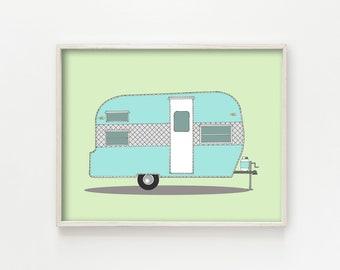 """vintage trailer decor, vintage camper decor, mid century modern art, mid century modern decor, wall art prints, green art - """"Frolic Camper"""""""