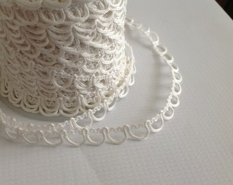 White Bridal Button Looping Trim - Ready to use Wedding Button Holes